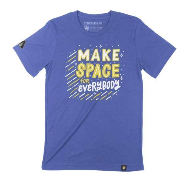 """A Unisex t-shirt in Royal Blue with the """"Make Space"""" design. The design features the title phrase in white and gold on a royal blue background. """"Make"""" is drawn in bold white capital letters with a thin gold outline. """"Space"""" is drawn in thin white capital letters with a heavy gold outline. """"For"""" is written in a smaller gold print under the """"SP"""" of space, and """"Everybody"""" in all capital white letters beneath it the full width of the design. The text is surrounded by white dots and four sided stars. From the left and bottom of the text are dashed lines alternating white and gold, giving the appearance of movement to the design as though it were shooting through space."""