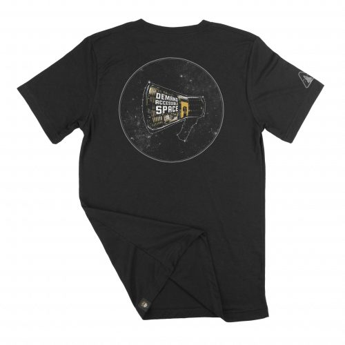 """The back of black t-shirt featuring the """"Rise Up"""