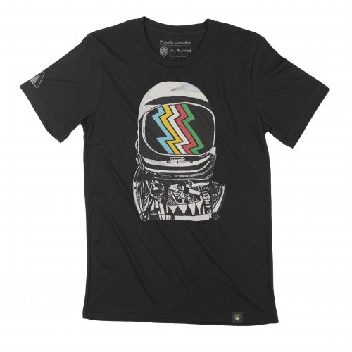 """A close up of a black Unisex T-shirt with the """"Looking Forward"""" design. The design features a bold high-contrast ink painting of the Mercury space helmet in black and white, reflecting the disability pride flag in the visor. The disability pride flag features five zigzag lines that are left to right blue, yellow, white, red, and green, on a black background with small gaps between each color."""