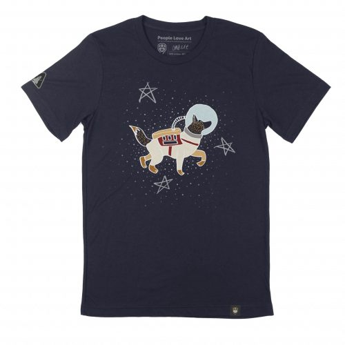 """A navy blue Unisex t-shirt with the """"Space Walkies"""" design. The design features an illustration of a German Shepard in a spacesuit and bubble helmet, facing to the right. The space suit is cream and tan colored with a red vest and accents. She wears a backpack connected to her light blue bubble helmet by a white hose, and her fluffy tail is raised out of the back of the suit. The dog floats in front of a field of small dot stars and three large five pointed stars in faded white."""